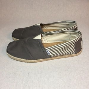 Toms Gray Striped Canvas Slip on Shoes